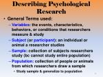 describing psychological research