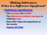making inferences when is a difference significant