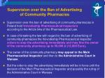 supervision over the ban of advertising of community pharmacies