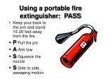 using a portable fire extinguisher pass
