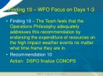 finding 10 wfo focus on days 1 3