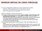 mensaje inicial de linus torvalds