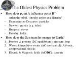 the oldest physics problem