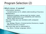 program selection 2