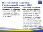 idiosyncratic firm capabilities henderson and cockburn 1994
