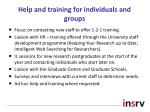 help and training for individuals and groups