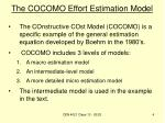 the cocomo effort estimation model