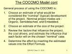 the cocomo model cont