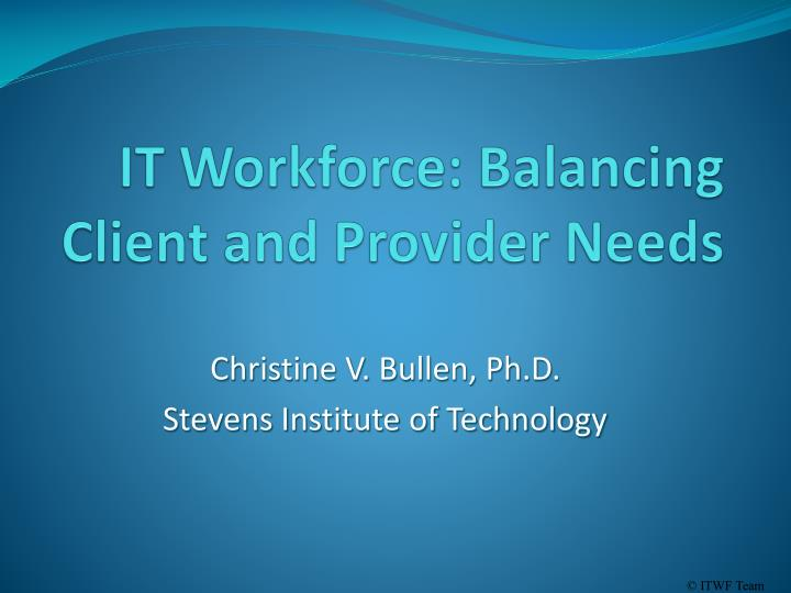 it workforce balancing client and provider needs n.