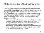 of the beginning of political societies