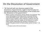 on the dissolution of government