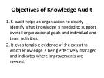 objectives of knowledge audit