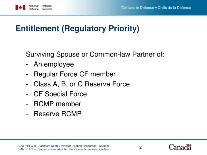 Entitlement regulatory priority