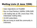 mailing lists 2 june 1998