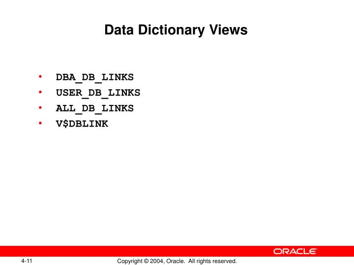 Data Dictionary Views
