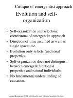 evolution and self organization
