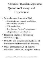 quantum theory and experience