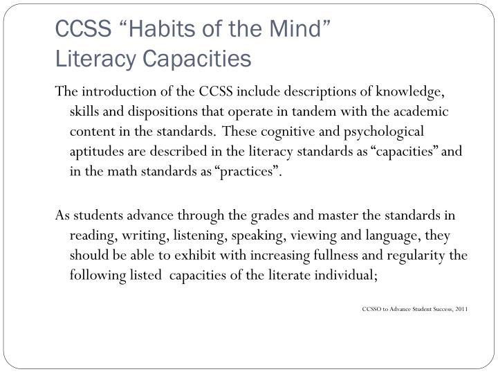 "CCSS ""Habits of the Mind"""