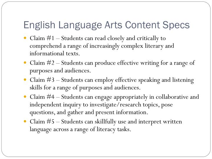 English Language Arts Content Specs