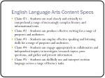 english language arts content specs