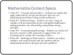 mathematics content specs