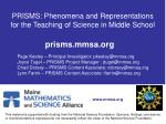 prisms phenomena and representations for the teaching of science in middle school
