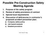 possible pre construction safety meeting agenda