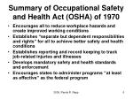 summary of occupational safety and health act osha of 1970
