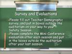 survey and evaluations