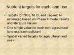 nutrient targets for each land use