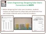 green engineering designing solar ovens connections to math