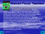 abstract focus teachers