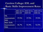 cerritos college esl and basic skills improvement rates