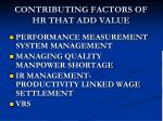 contributing factors of hr that add value