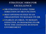 strategic hrm for excellence