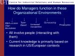 how do managers function in these organizational environments
