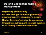 ob and challenges facing management