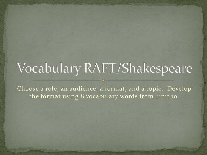 vocabulary raft shakespeare n.
