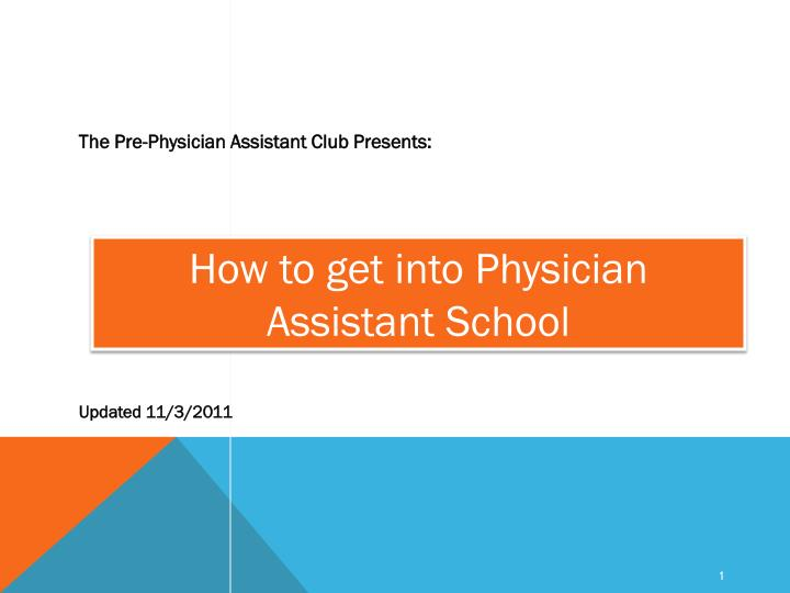 how to get into physician assistant school n.