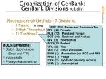 organization of genbank genbank divisions gbdiv