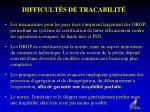 difficult s de tracabilit