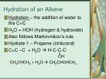 hydration of an alkene