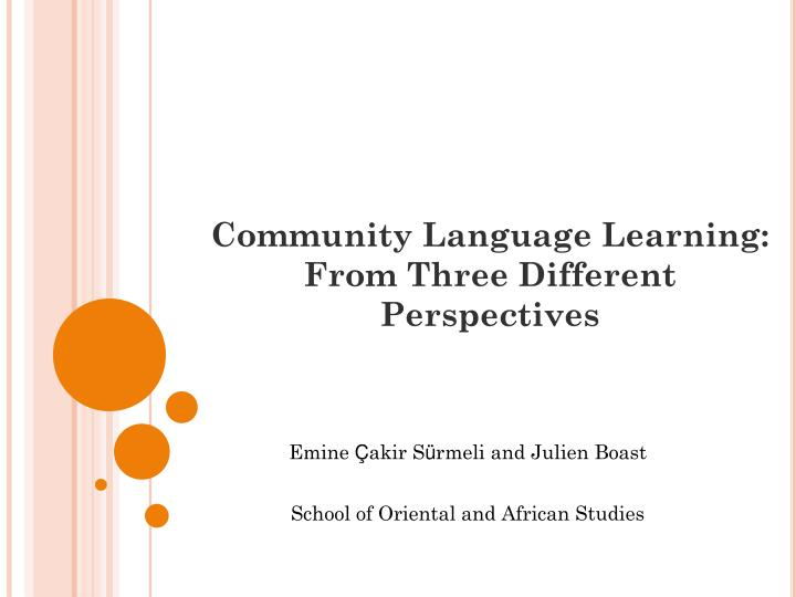 community language learning from three different perspectives n.