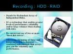 recording hdd raid