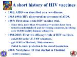 a short history of hiv vaccines
