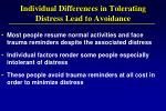 individual differences in tolerating distress lead to avoidance