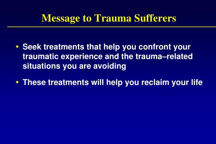 Message to Trauma Sufferers