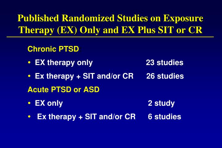 Published Randomized Studies on Exposure Therapy (EX) Only and EX Plus SIT or CR