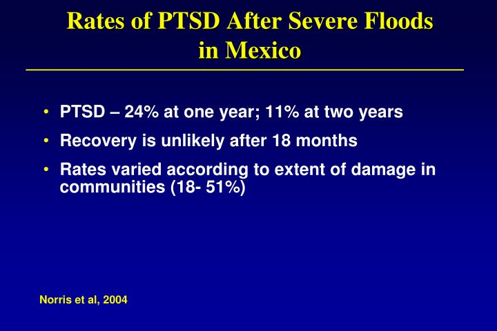 Rates of PTSD After Severe Floods