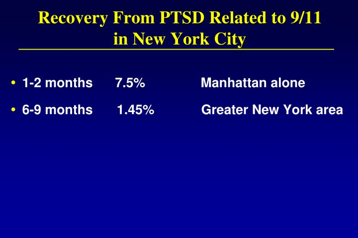 Recovery From PTSD Related to 9/11